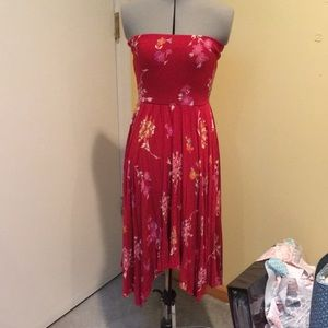 Red strapless floral dress